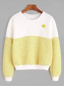 Contrast Striped Textured Sweatshirt With Smile Brooch