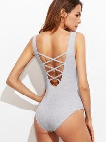 Pale Grey Criss Cross Back Sleeveless Bodysuit