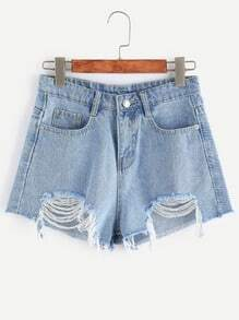 Blue Frayed Hem Distressed Denim Shorts