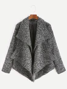 Grey Lapel Asymmetric Hem Slub Coat