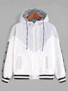 Contrast Letter Tape Side Striped Lining Drawstring Hooded Jacket