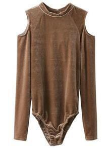 Khaki Open Shoulder Velvet Bodysuit