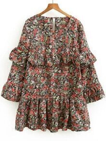 Multicolor Printed Ruffle Detail Dress