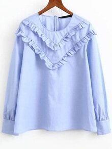 Blue Ruffle Embellished Round Neck Blouse
