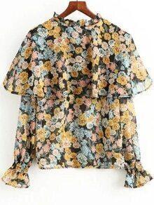 Multicolor Floral Print Ruffle Blouse