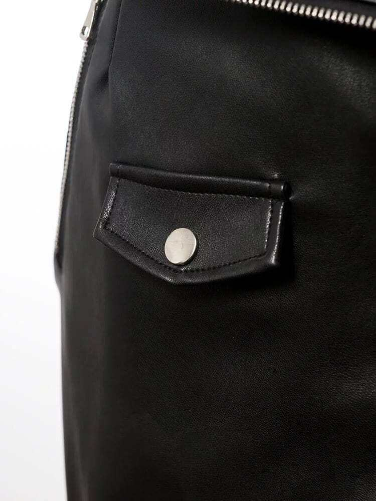 jupe obliqu zipp moulant en pu noir french romwe. Black Bedroom Furniture Sets. Home Design Ideas