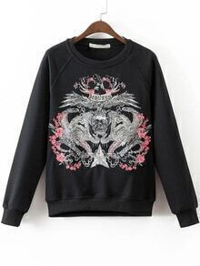 Black Embroidery Raglan Sleeve Sweatshirt