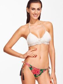 White Printed Crochet Bikini Set With Tassel Tie