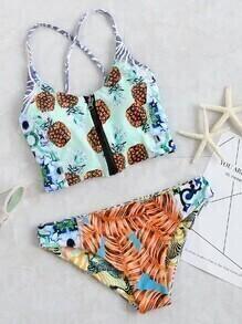 Printed Lace Up Back Zipper Bikini Set