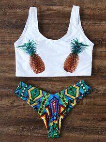 White Pineapple Print Sexy Bikini Set