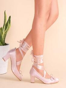 Pink Tie Back Strappy Bow Satin Heeled Pumps