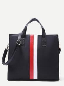 Black Nylon Strap Embellished  Tote Bag with Shoulder Strap