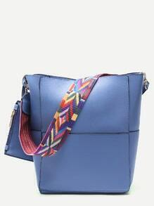 Blue Patchwork Leather Wide Strap Bucket Bag with Purse
