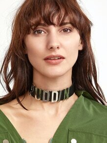 Metallic Letter Beaded Statement Leather Choker Necklace