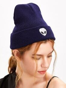 Dark Purple Alien Embroidery Wacky Beanie Hat