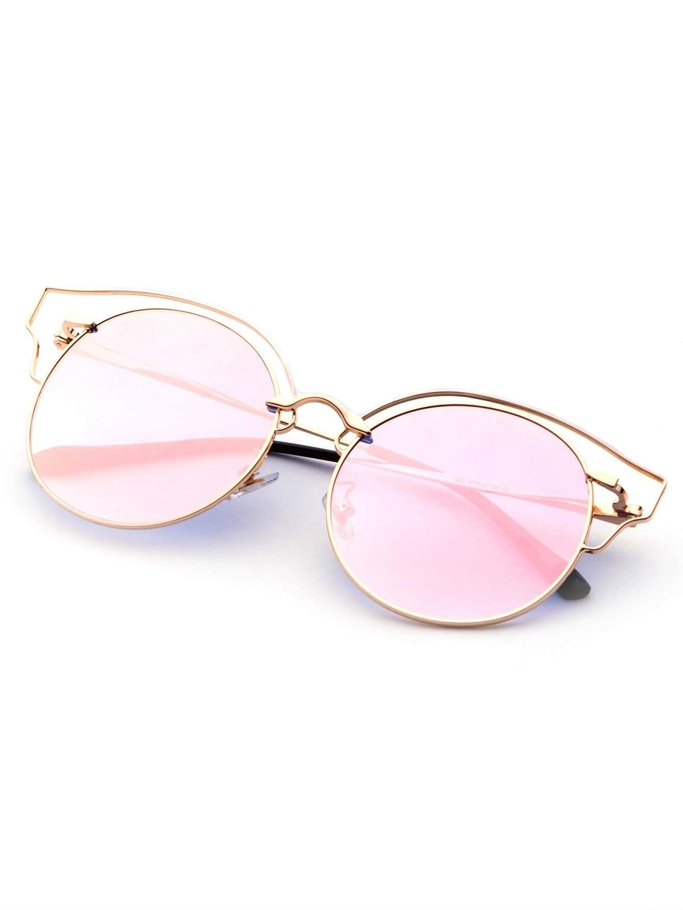 lunettes de soleil forme d 39 il de chat avec verre rose et. Black Bedroom Furniture Sets. Home Design Ideas