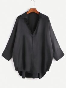Black High Low Loose Blouse