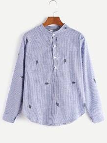Vertical Striped Dip Hem Leaf Embroidery Half Placket Shirt
