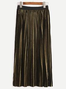 Army Green Contrast Trim Pleated Velvet Skirt