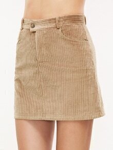 Light Khaki Corduroy Pocket Bodycon Skirt