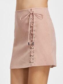 Rock mit Schnüren Hinten Reißverschluss Hinten-rosa