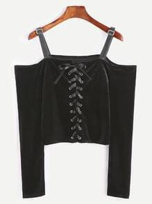 Cold Shoulder Buckle Detail Lace Up Crop Velvet T-shirt