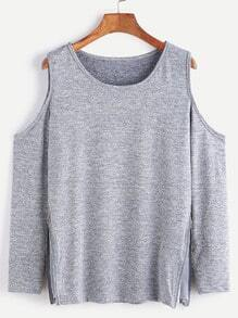 Grey Open Shoulder Zip Side Detail T-shirt
