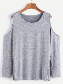 Grey Open Shoulder Zip Side Detail T-shirt
