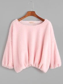 Pink Dropped Shoulder Seam Crop Fuzzy T-shirt