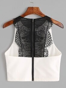 White Contrast Lace Zipper Back Tank Top