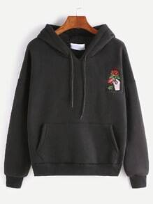 Black Drop Shoulder Hand Rose Embroidery Pocket Hoodie