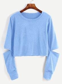 Blue Cut Out Sleeve Crop Sweatshirt