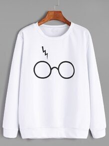 White Glasses Print Casual Sweatshirt