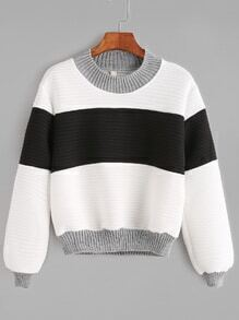 Contrast Textured Ribbed Trim Sweatshirt