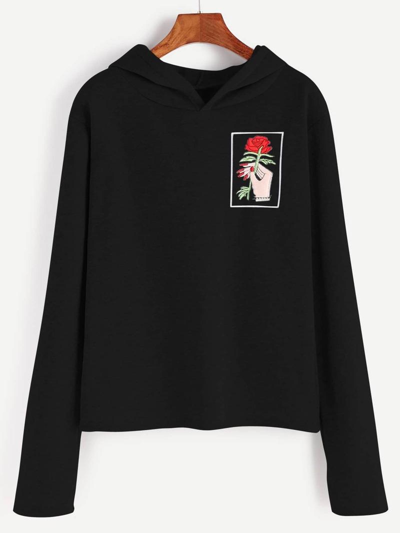 tienda de liquidación 7cabf 9918c Sudadera de capucha con bordado de mano y rosa - negro