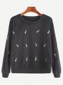 Black Dropped Shoulder Seam Embroidered Fuzzy Sweatshirt
