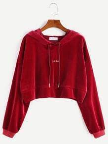 Burgundy Drop Shoulder Letter Embroidery Crop Drawstring Hoodie