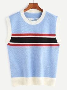 Sky Blue Striped Trim Back Letter Pattern Sweater Vest