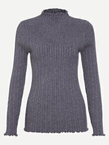 Grey Turtleneck Ruffle Trim Ribbed Knit Tight Sweater
