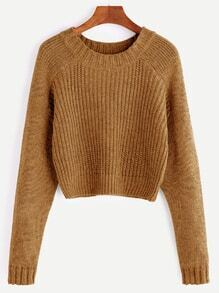 Khaki Raglan Sleeve Crop Sweater