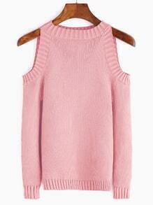 Pink Open Shoulder Long Sleeve Sweater