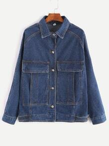 Deep Blue Raglan Sleeve Dual Pocket Front Denim Jacket