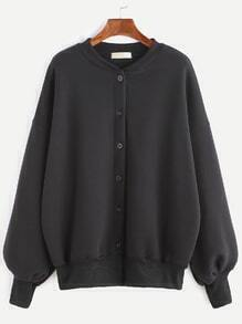 Black Dropped Shoulder Seam Button Jacket