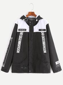 Black White Contrast Letter Print Embroidery Patch Hooded Coat