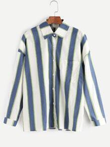 Contrast Vertical Striped Drop Shoulder Pocket Shirt