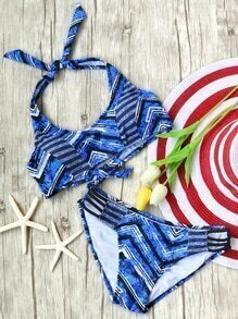 Blue Printed Halter Cutout Bikini Set