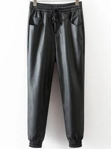 Black Drawstring Waist PU Pants
