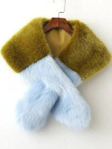 Color Block Cross Faux Fur Scarf