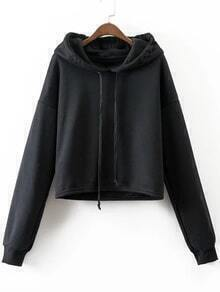 Black Drop Shoulder Casual Sweatshirt
