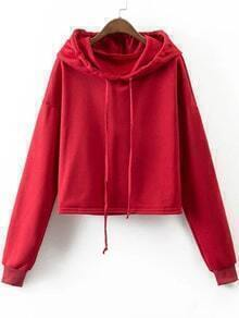 Red Drop Shoulder Casual Sweatshirt